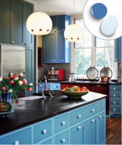 Bold Blue and Soft Blue kitchen