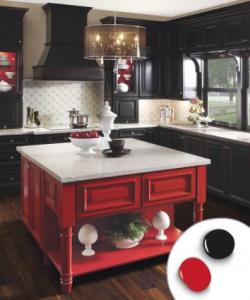 Bright Red and Midnight Black kitchen