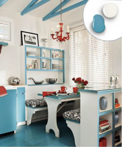 Deep Aqua and White kitchen