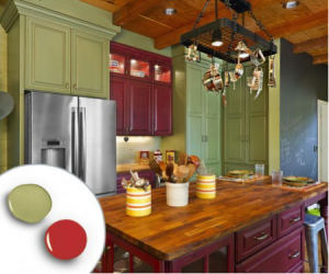 barn red and sage green kitchen