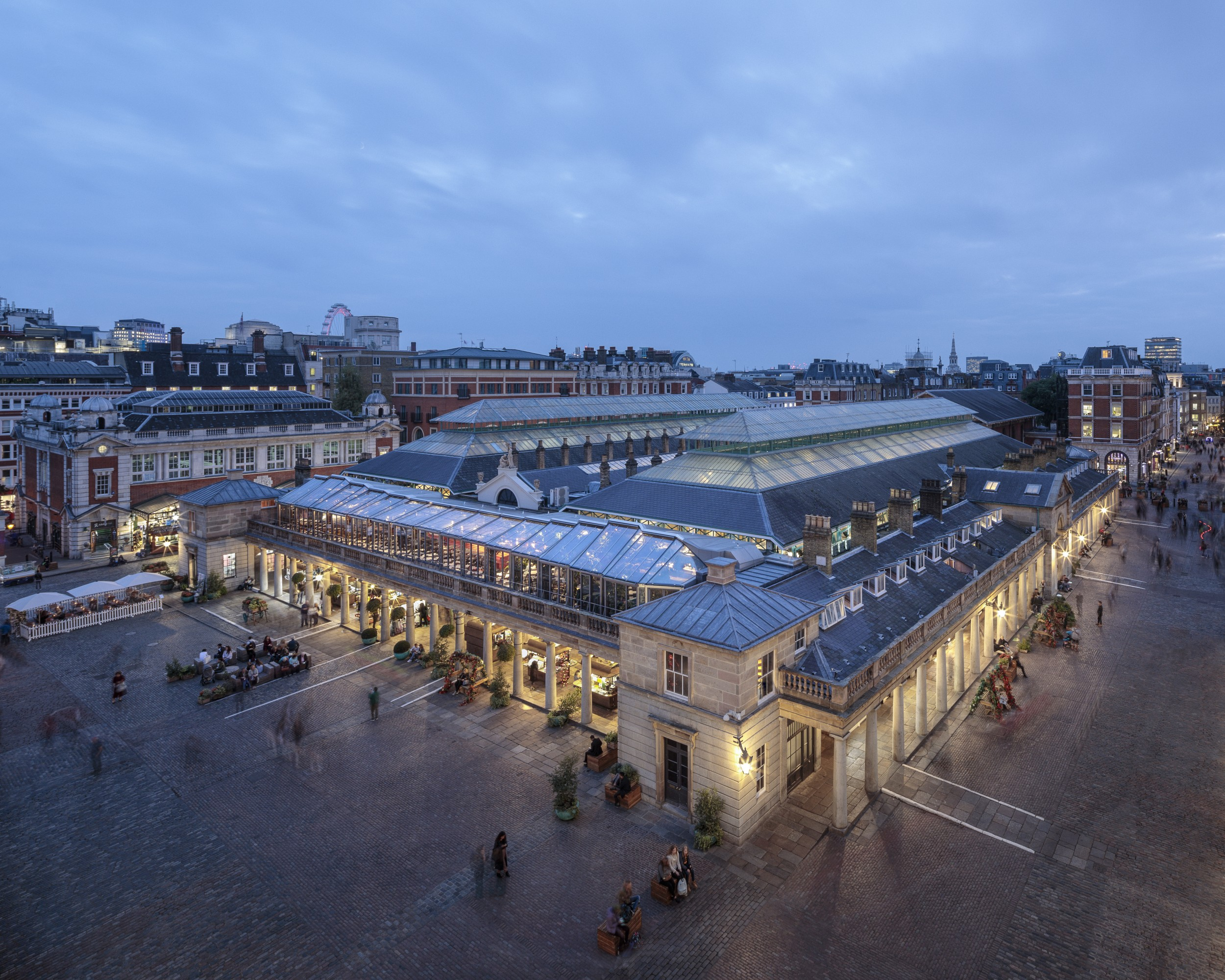 Covent Garden glass roof design can be shaded and beautiful