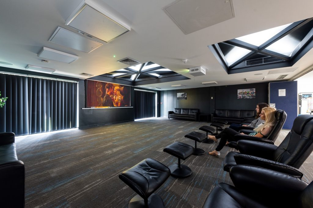 student cinema room with projector lift